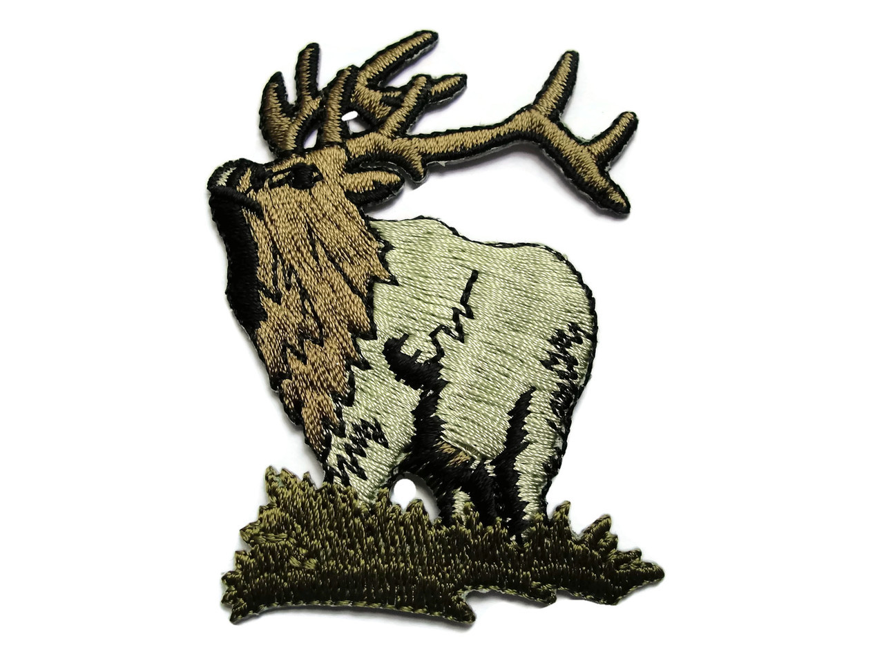 Majestic Elk Caribou On Grass Embroidered Iron On Patch Applique