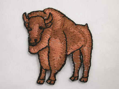Brown Buffalo Iron On Embroidered Applique Patch