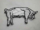 White Pig Sow Iron On Embroidered Applique Patch