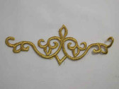Gold Scroll Rectangle Costume Iron On Embroidered Patch 6.88 Inches