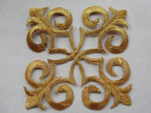 Gold Metallic Floral Square Scrollwork Costume Iron On Patch 3 Inches