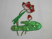 Red White Luster Green Water Lily Iron On Patch 7 In