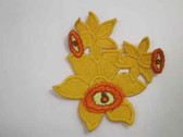 Yellow Daffodil Group Iron On Patch 4 Inch