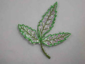 Luminous Green Oak Leaf Iron On Patch 2.75 Inch