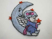 Cherub Angel w Moon Iron On Patch Blue 2.75 In