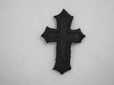 2 Christian Cross Black Satin Iron On Patch 1.25 In