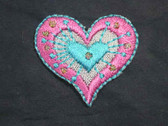 Pink Aqua Silver Heart Iron On Patch 1.25 In