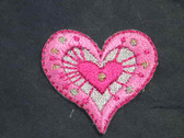 Pink Silver Heart Iron On Patch 1.25 In