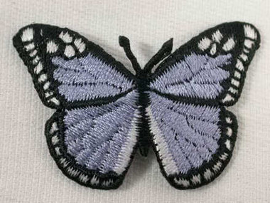 Pale Lilac Butterfly Embroidered Iron On Patch 3 Inch
