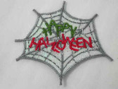 Happy Halloween Spider Web Embroidered Iron On Patch