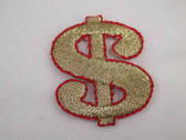 Dollar Sign Gold Metallic Iron On Patch 1.25 In