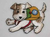 Terrier Pup w Back Pack Comical Iron On Patch