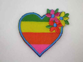 Rainbow Heart Love w Flowers Iron On Patch