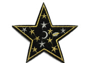 Stars on Black Star Embroidered Iron On Patch 3 Inch