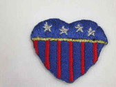 American Flag Patriotic Heart Applique Patch 1 In