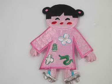 Chinese Asian Doll Pink Embroidered Iron On Patch 4.25 Inches