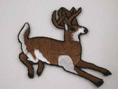Running Buck Deer Embroidered Iron On Applique Patch