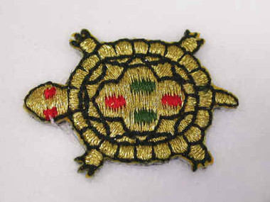 Turtle Gold Metallic Embroidered Iron On Patch 1.25 In