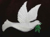 Glittery Dove of Peace Iron On Embroidered Applique Patch Right