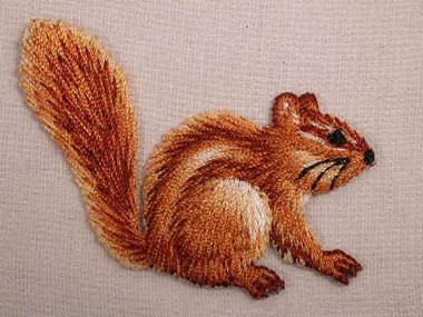 Sitting Chipmunk Embroidered Iron On Applique Patch