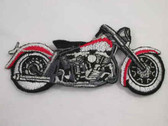 Red Black Silver Motorcycle Iron On Applique Patch 3.25