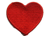 Bright Red Heart Embroidered Iron On Applique Patch 1.63 Inch