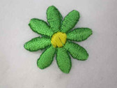 Green Daisy Embroidered Iron On Applique Patch 1 In