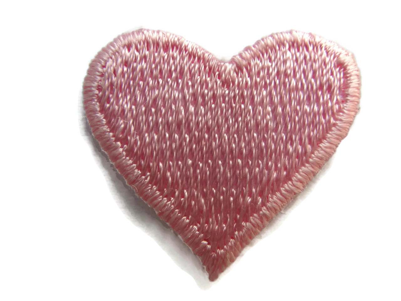 Pink heart embroidered iron on applique patch inch