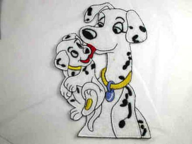 Dalmatian Mom and Pup Cartoon Child Iron On Patch 5.5