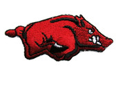 Red Razorback Hog Iron On Embroidered Applique Patch
