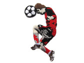 Red Black Soccer Player Playing Embroidered Iron On Patch Applique