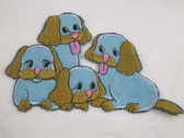 Four Blue Puppies Embroidered Iron On Patch