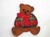 Brown Bear Plaid Jacket Embroidered Iron On Patch 2 In