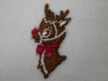 Rudolph Red Nosed Reindeer Embroidered Sew On Patch 1.5 In