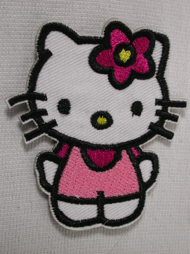 Pink Miss Kitty Cat Embroidered Iron On Patch 2.5 Inch
