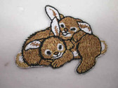 Bunny Rabbits Playful Pair Iron On Patch