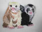 Ferret Pair Iron On Applique Patch 2.5 Inch