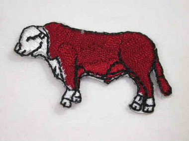 Hereford Bull Iron On Embroidered Applique Patch