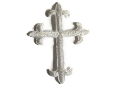 Floury Cross White Embroidered Iron On Patch Applique 3.68 Inch