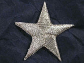 Star Silver Metallic Iron On Patch 1.25 In