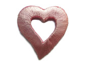 Pink Offset Open Heart Embroidered Iron On Patch 1.13 Inches