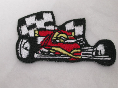 Race Car w Flags Iron On Applique Patch