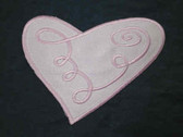 Pink Heart Stylized Embroidered Satin Iron On Patch