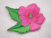 Pink Hibiscus w Leaf Embroidered Iron On Patch 1.5 In