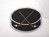 Hockey Puck w Sticks Embroidered Iron On Patch