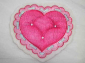 Heart Pillow w Border Embroidered Iron On Patch 2.5 In