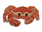 Crab with Claws Orange Yellow Embroidered Iron On Patch 2.58 Inches