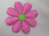 Pink w Green Daisy Embroidered Iron On Patch 1.5 In