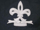 White Fleur De Lis Mardi Gras Bold Iron On Patch 2.5