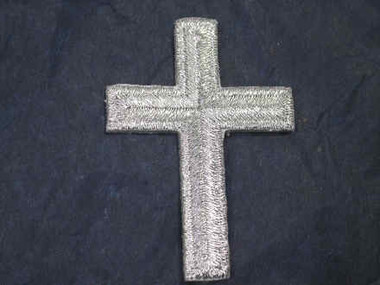 Silver Metallic Cross Embroidered Iron On Patch 1.75 In
